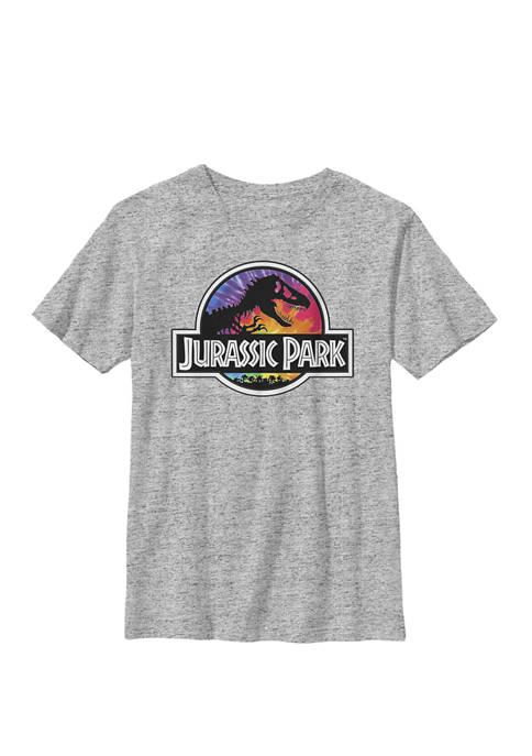 Jurassic Park Classic Logo Tie Dye Crew Graphic