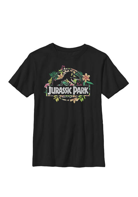 Jurassic Park Floral Tropical Fossil Logo Crew Graphic