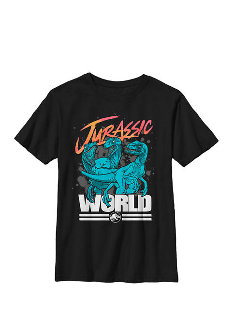 Jurassic World Colorful Raptor Trio Paint Splatter Logo