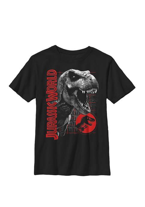 Jurassic World T Rex Grid Background Logo Crew