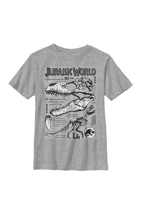 Two T Rex Bones Schematic Crew Graphic T-Shirt