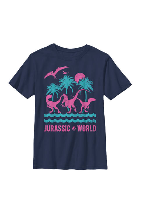 Two Dinosaur Beach Retro Crew Graphic T-Shirt