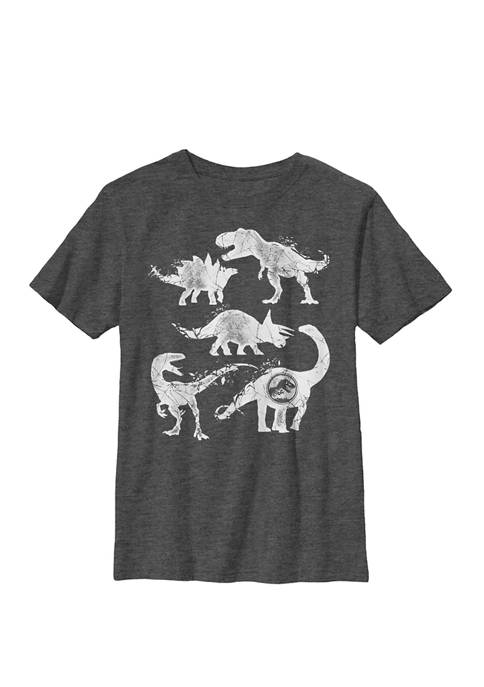 Two Dino Cracked Silhouettes Crew Graphic T-Shirt