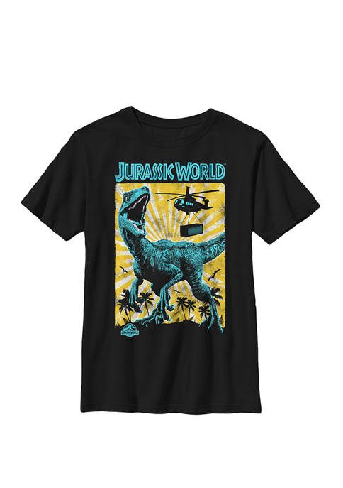 T Rex Color Pop Retro Poster Crew Graphic T-Shirt
