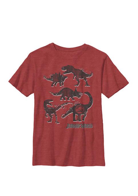 Jurassic World Two Distressed Dinosaur Silhouette Logo Crew