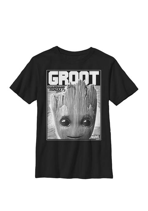 Guardians Vol. 2 Baby Groot Close Up Crew Graphic T-Shirt