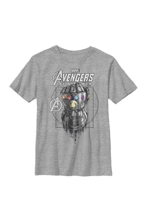 Infinity War Geo Gauntlet Sketch Crew Graphic T-Shirt