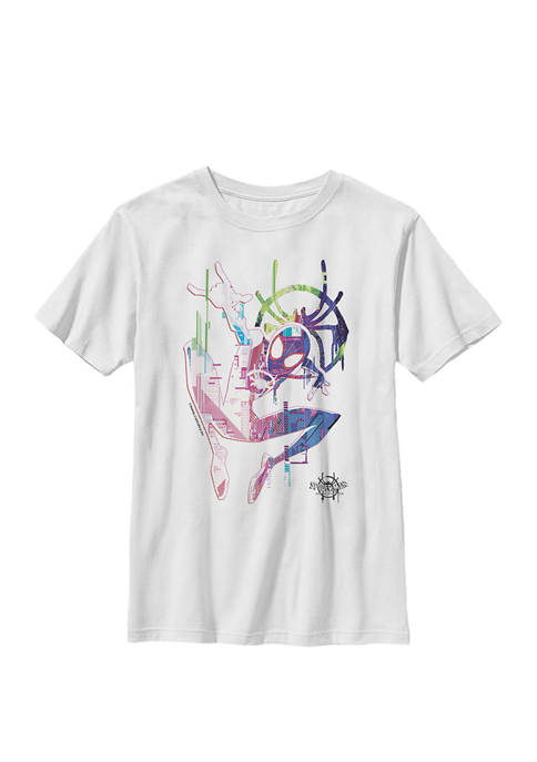 Spiderverse Watercolor Spidey Pose Crew Graphic T-Shirt