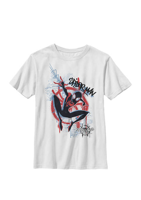 Spiderverse Blue Red Brick Graffiti Crew Graphic T-Shirt