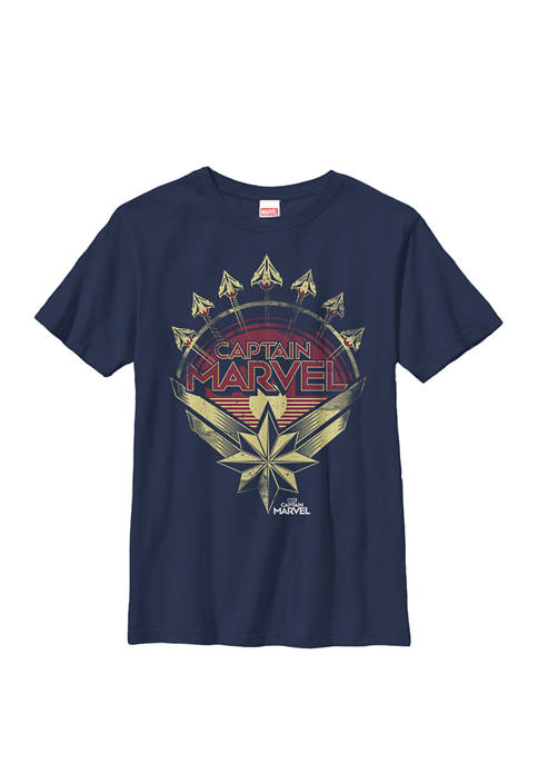 Captain Marvel Airplane Circle Poster Graphic T-Shirt