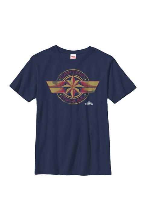 Captain Movie Retro Red Yellow Logo Crew Graphic