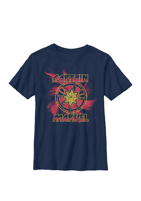 Captain Spiral Paint Splatter Logo Crew Graphic T-Shirt