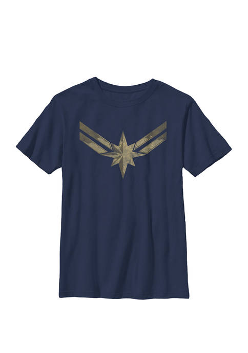 Captain Movie Gold Blue Logo Crew Graphic T-Shirt