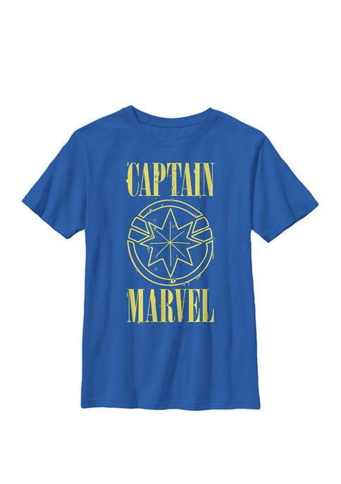 Captain Yellow Paint Drip Logo Crew Graphic T-Shirt
