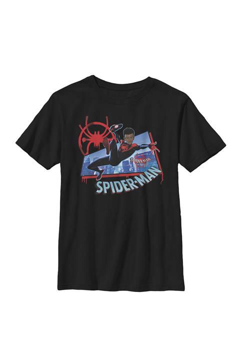 Boys 8-20 Spiderverse Miles Kick Above City Graphic