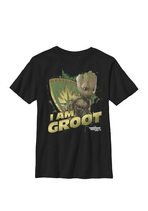 Boys 8-20 Guardians Vol.2 I AM GROOT Shield Splash Graphic T-Shirt