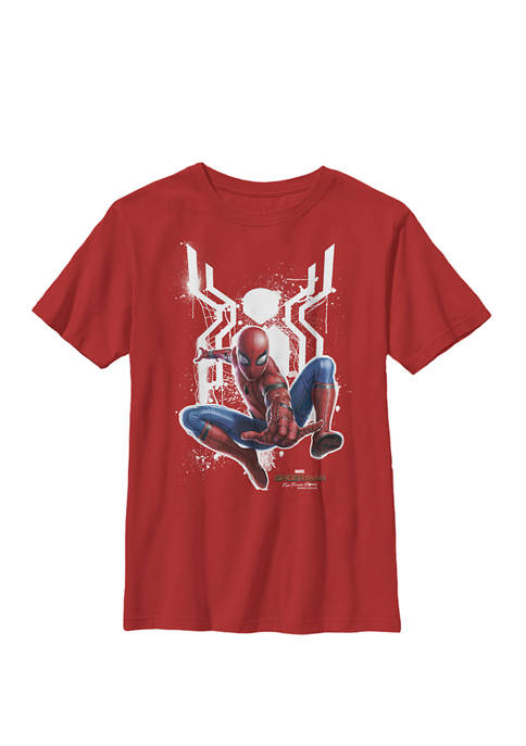 Boys 8-20 Spider-Man Far From Home Painted Logo Swing Poster Graphic T-Shirt