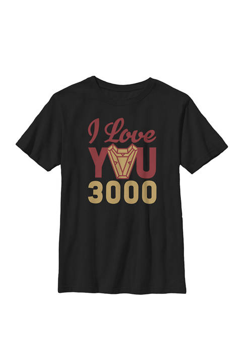 Boys 8-20 Avengers Endgame Iron Man I Love You 3000 Red Yellow Logo Graphic T-Shirt