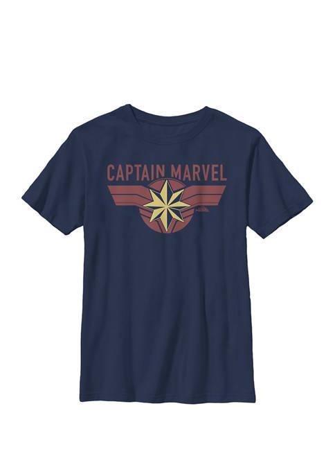 Boys 8-20 Captain Marvel Crest Name Graphic Logo T-Shirt