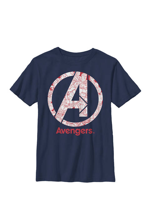 Avengers Endgame Characters Inside Logo Crew Graphic T-Shirt