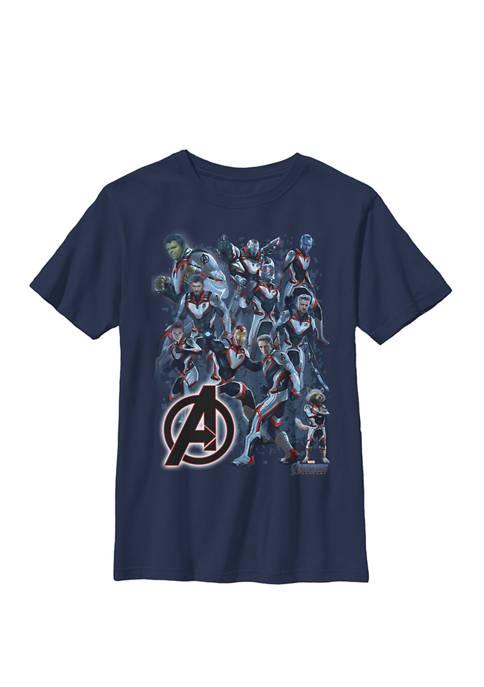 Avengers Endgame Suit Group Shot Crew Graphic T-Shirt