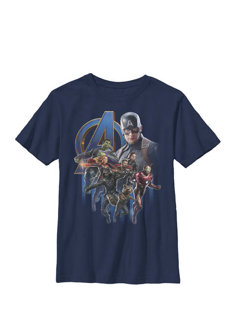 Avengers Endgame Group Poster Logo Crew Graphic T-Shirt
