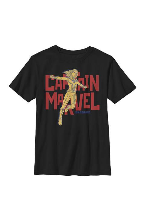 Avengers Endgame Captain Marvel Bold Name Logo Crew