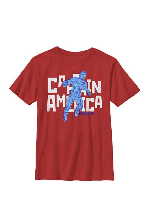 Avengers Endgame Captain America Bold Name Logo Crew