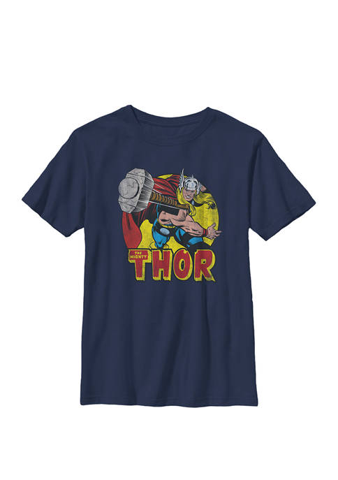 Mighty Thor Hammer Throw Vintage Crew Graphic T-Shirt