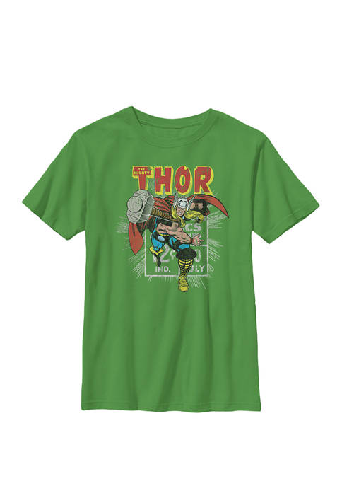 Mighty Thor Hammer Throw Retro Crew Graphic T-Shirt