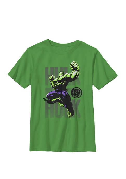 Hulk Avengers Assembler Jump Punch Crew Graphic T-Shirt