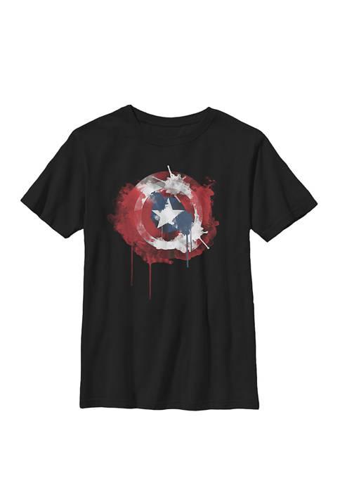 Captain America Avengers Shield Watercolor Crew T-Shirt