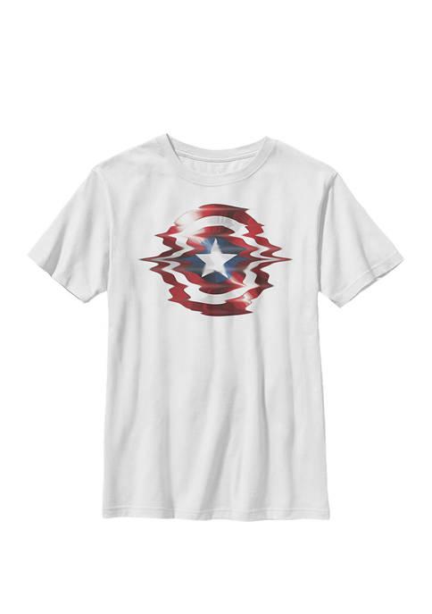 Captain America Shield Glitch Crew T-Shirt