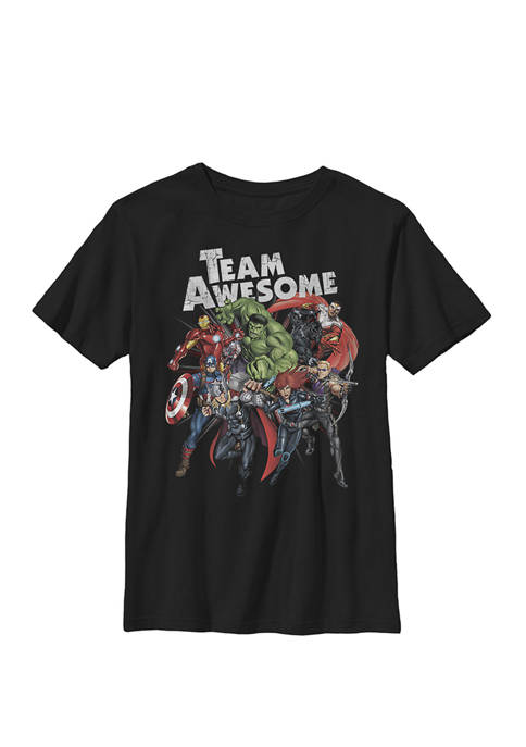 Avengers Assemble TEAM AWESOME Group Huddle Crew T-Shirt