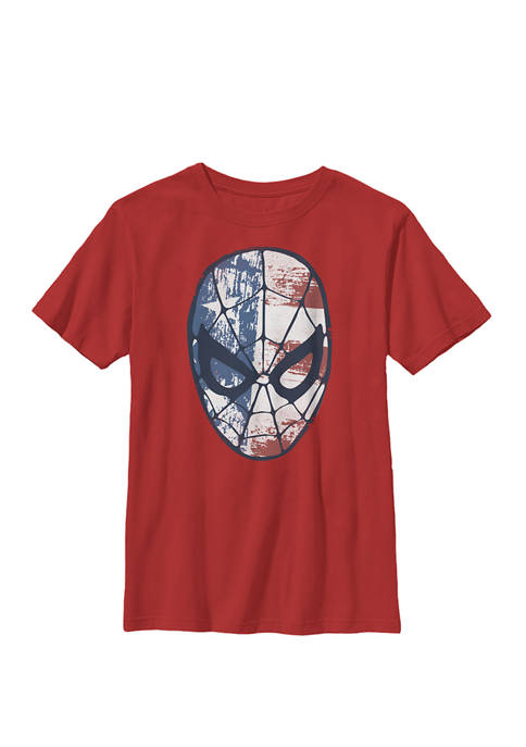 Boys 8-20 Spider-Man American Flag Face Vintage Graphic T-Shirt