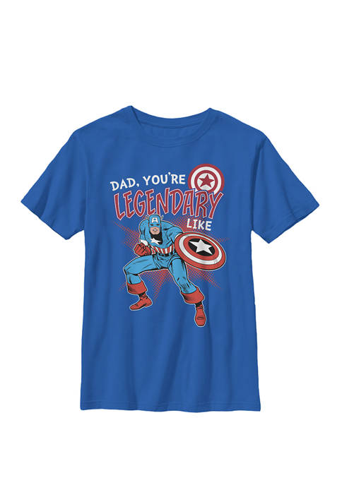 Boys 8-20 Captain Legendary Dad Fathers Day Graphic