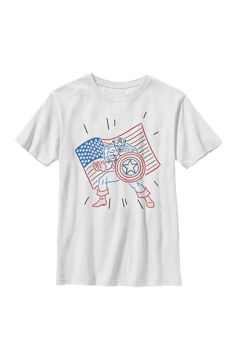 Boys 8-20 Captain America Patriotic Line Art Graphic