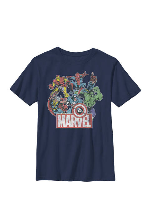 Boys 8-20 Avengers Team Retro Comic Vintage Graphic T-Shirt