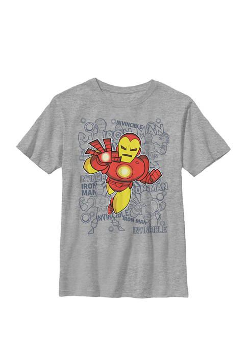 Boys 8-20 Iron Man Retro Portrait Sketch Background