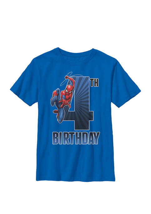 Boys 8-20 Spider-Man Swinging 4th Birthday Graphic T-Shirt