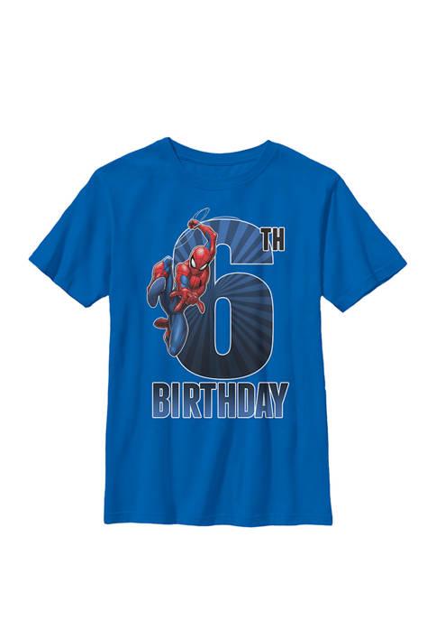 Boys 8-20 Graphic Spider-Man Swinging 6th Birthday  T-Shirt