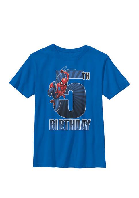 Boys 8-20 Spider-Man Swinging 5th Birthday Graphic T-Shirt