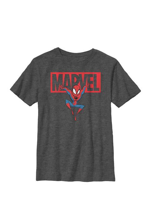 Boys 8-20 Spider-Man Chibi Action Pose Logo Outline