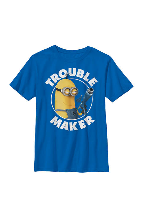 Minions Kevin Trouble Maker Crew Graphic T-Shirt