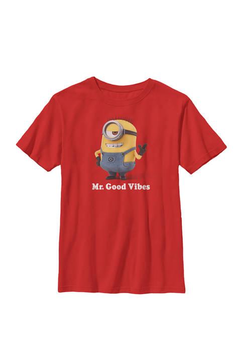 Minions Mr Good Vibes Crew Graphic T-Shirt