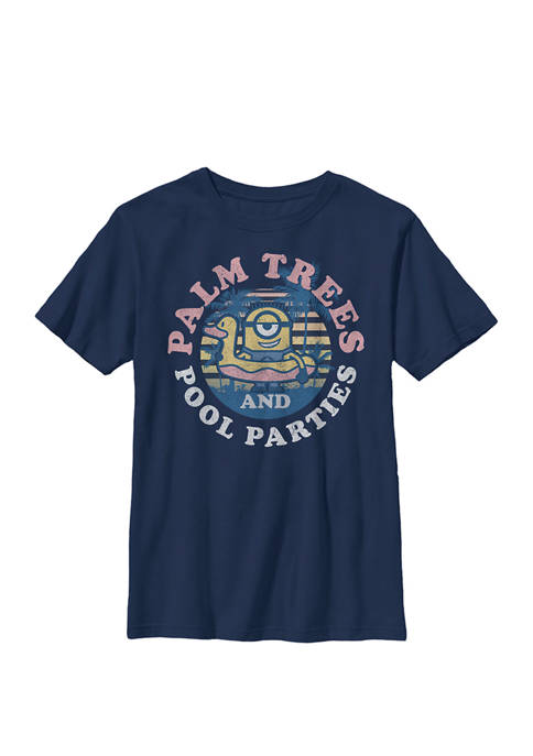 Minions Palm Trees & Parties Crew Graphic T-Shirt