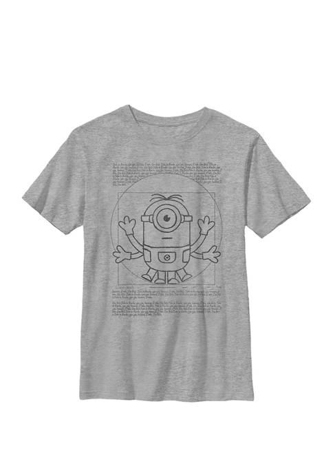 Minions Vitruvian Minion Scroll Poster Crew Graphic T-Shirt