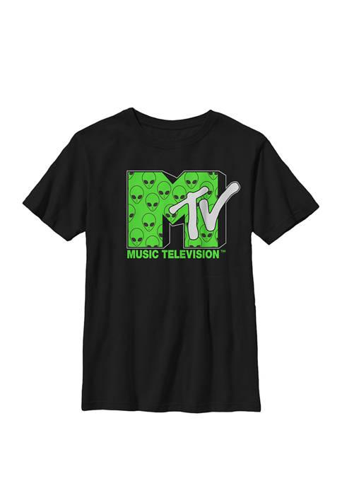 MTV Logo Little Green Alien Crew Graphic T-Shirt