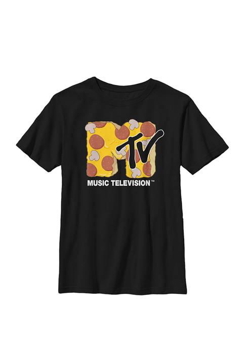 MTV Mushroom and Pepperoni Pizza Logo Crew Graphic