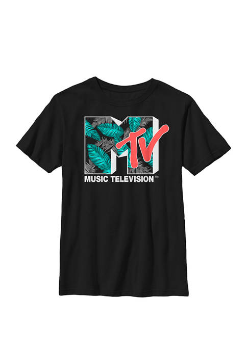 Tropical Neon Turquoise Leaves Logo Crew Graphic T-Shirt